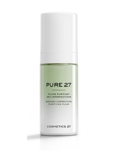 pure cosmetics 27 soin visage pore dilate imperfection fluide rougeur exces sebum equilibrant