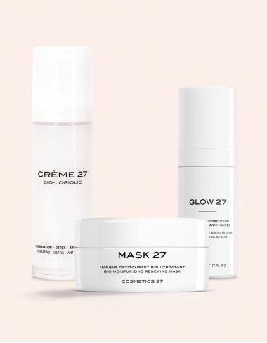 routine super glow creme biologique glow serum mask masque visage cosmetics 27 naturel centella asiatica bonne mine eclat